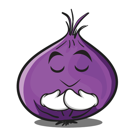 Praying red onion character cartoon