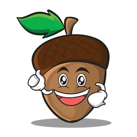 Enthusiastic acorn cartoon character style Çizim