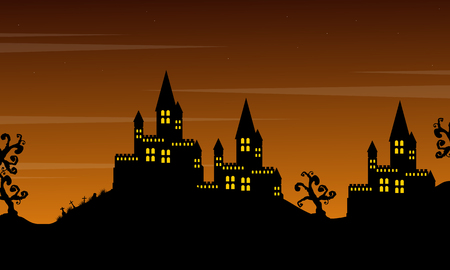 Castle on the hill landscape Halloween style Illustration