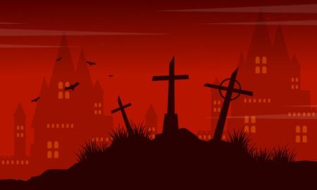 Grave and castle Halloween landscape vector illustration