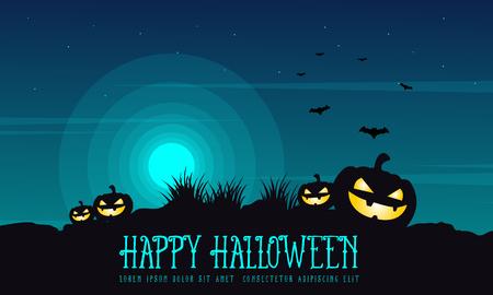 Halloween background pumpkin on the hill vector illustration