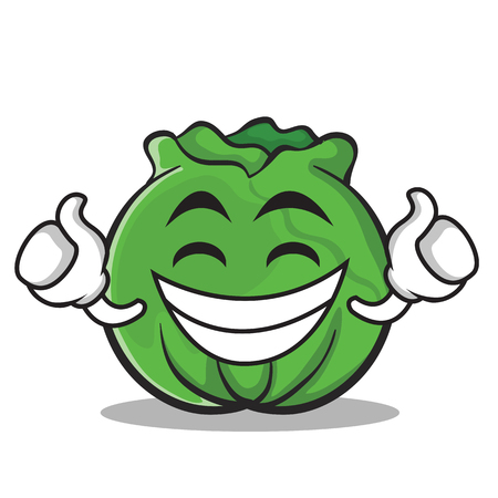 frown: Proud cabbage cartoon character style Illustration