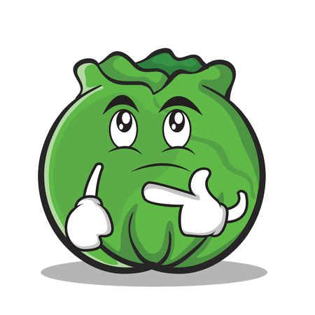 Thinking cabbage cartoon character style