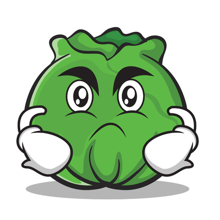 Angry cabbage cartoon character style Ilustração
