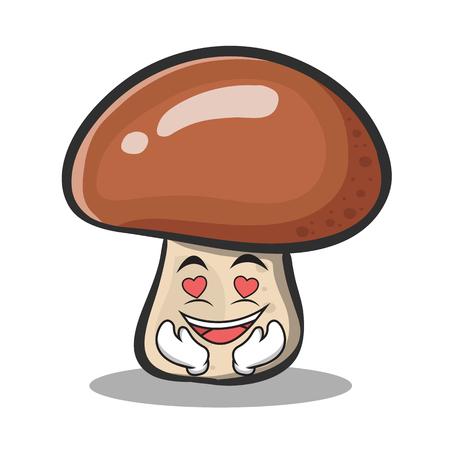 In love mushroom character cartoon vector illustration