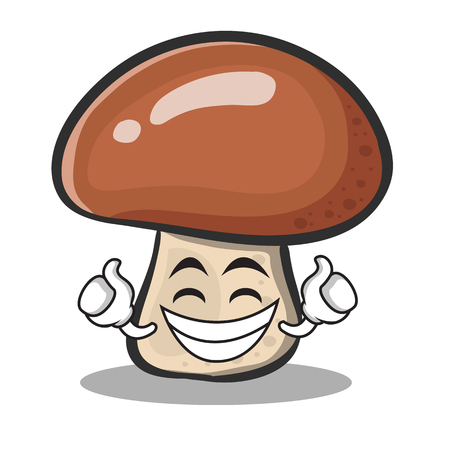 Proud face mushroom character cartoon vector illustration
