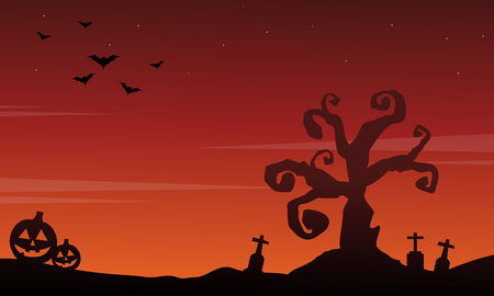 Halloween scenery silhouette style background Illustration