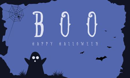 Hallowee-achtergrond met spook en knuppel vectorart