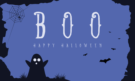 Hallowee background with ghost and bat vector art