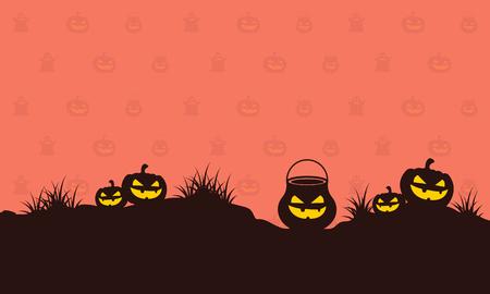 Pumpkin on hill Halloween style background vector illustration Illustration