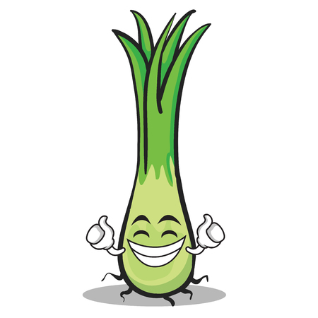 Proud leek character cartoon 일러스트