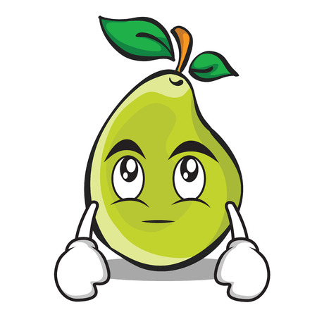 Eye roll pear character cartoon Illustration