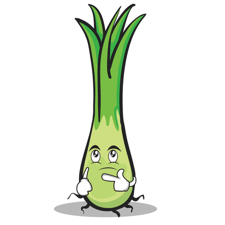 Thinking face leek character cartoon