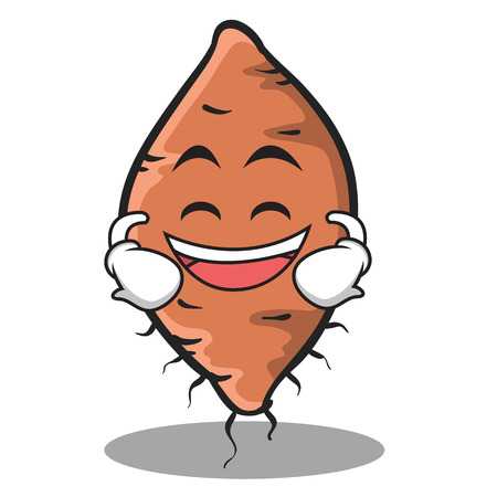 Laughing face yam character cartoon style