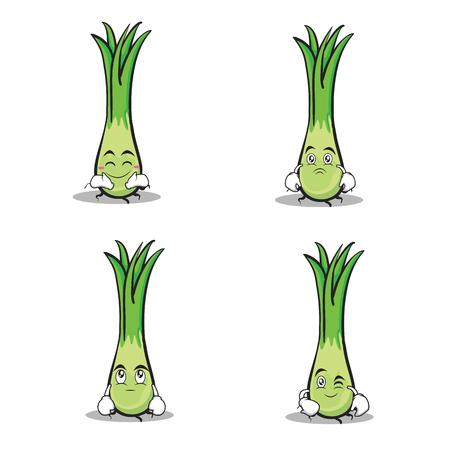 Leek character cartoon set collection vector illustration