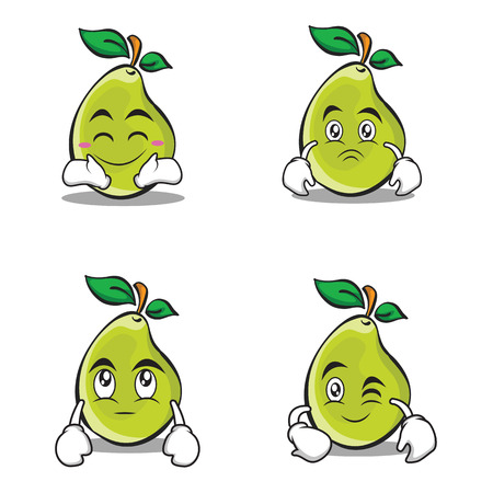 Character of pear cartoon set Illustration