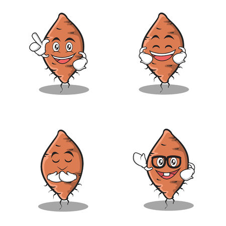 Set of yam character cartoon