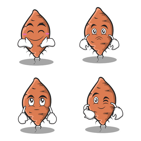 Set yam character collection stock Illustration