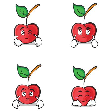 cherry character cartoon style of set vector illustration Illustration