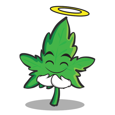 Innocent face marijuana character cartoon vector illustration