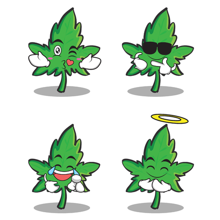 marijuana character cartoon set collection vector illustration