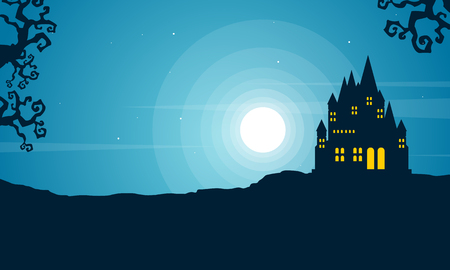 Halloween with scary castle landscape vector illustration