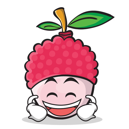 Laughing face gesture illustrated in lychee cartoon character style. Illustration
