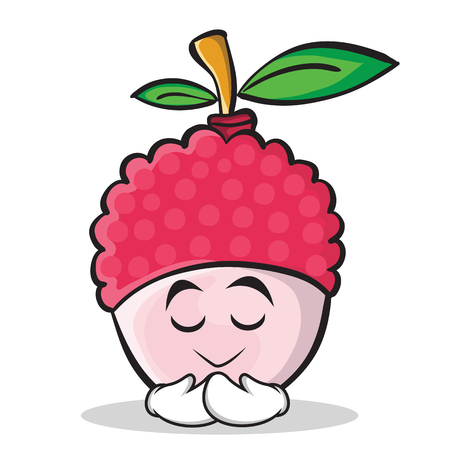 Praying face gesture illustrated in lychee cartoon character style