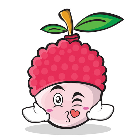 A kissing face gesture illustrated in lychee cartoon character style. Illustration
