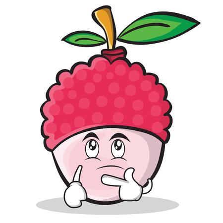 Thinking face lychee cartoon character style