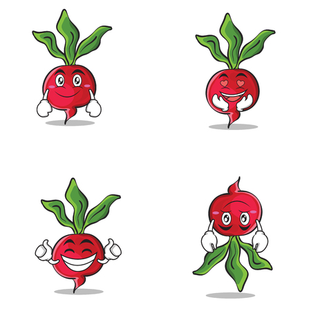 Collection of radish character cartoon style set vector art