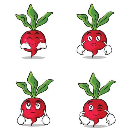 Collection radish character cartoon style set vector illustration