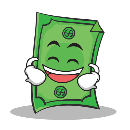 us currency: Laughing face Dollar character cartoon style vector illustration Illustration