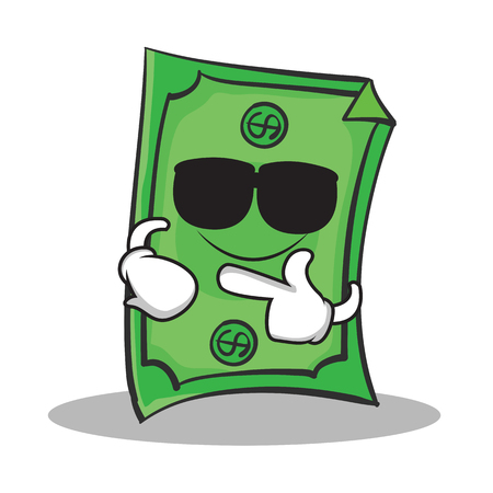 us currency: Super cool Dollar character cartoon style