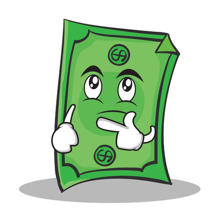 us currency: Thinking face Dollar character cartoon style