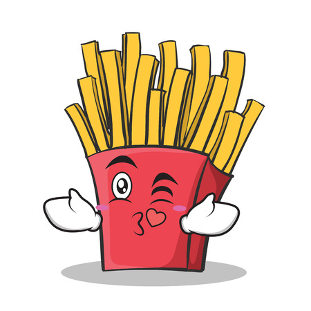 Kissing face french fries cartoon character Illustration