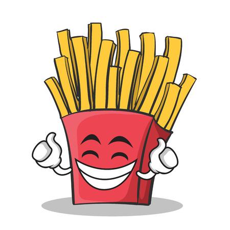 Personagem de desenho animado de batatas fritas de rosto orgulhoso