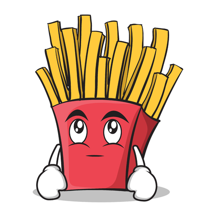 Eye roll french fries cartoon character Illustration