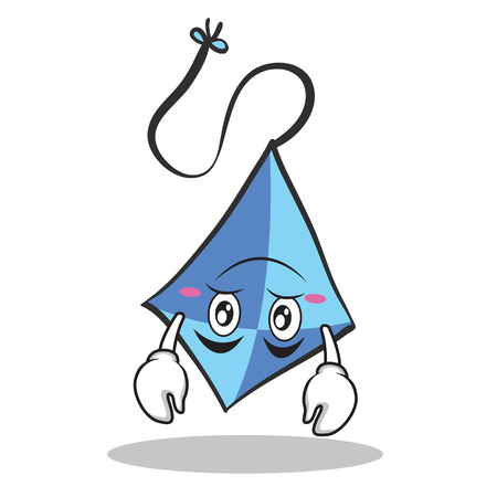 Upside down blue kite character cartoon Illustration