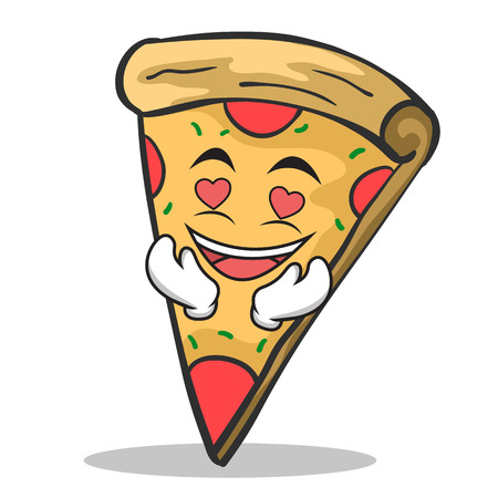 In love pizza character cartoon