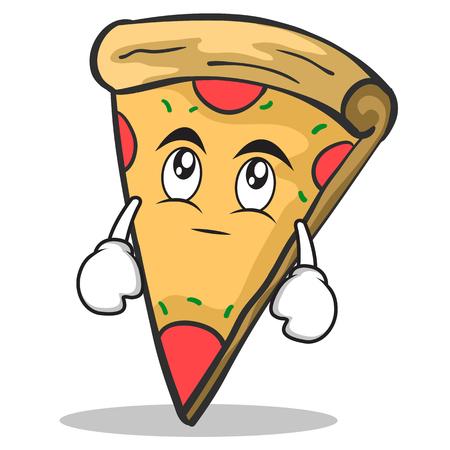 Eye roll pizza character cartoon Illustration
