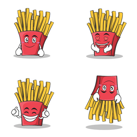 Collection set french fries cartoon character vector illustration