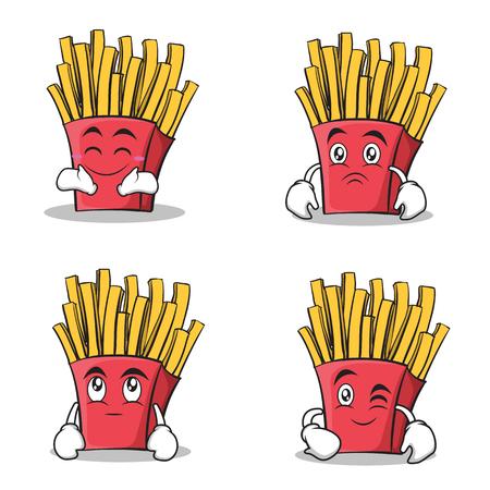 Een set van franse frietjes stripfiguren.