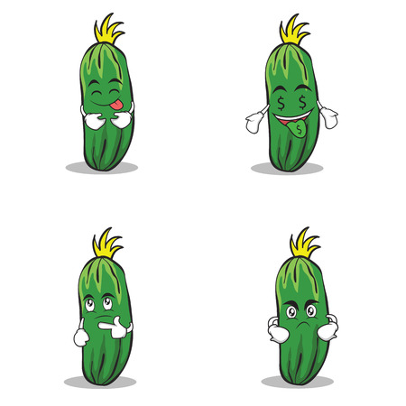 cucumber character cartoon collection of set Ilustrace