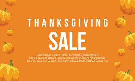 fall leaves: Thanksgiving sale on orange background Illustration