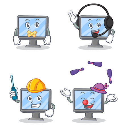 silent: Set of monitor character with silent headphone automotive juggling