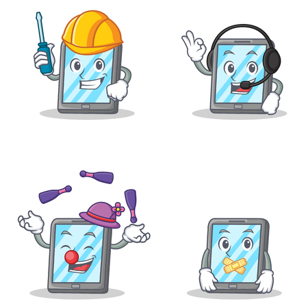 silent: Set of tablet character with automotive headphone juggling silent