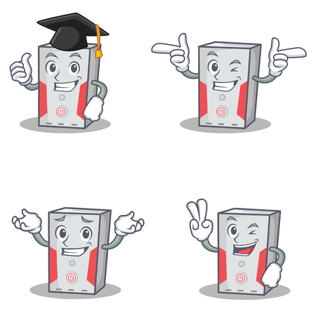 hard: Set of computer character with graduation wink two finger