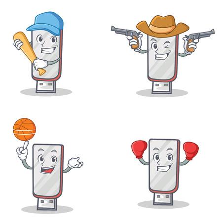Set of flashdisk character with baseball cowboy basketball boxing