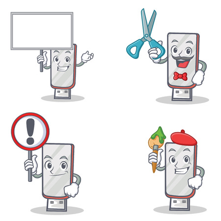 Set of flashdisk character with bring board barber sign artist